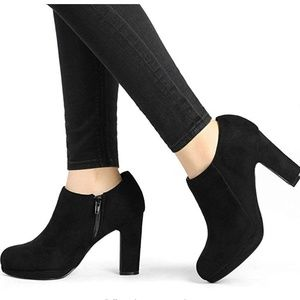 Platform Round Toe Chunky Heel Ankle Booties Boots